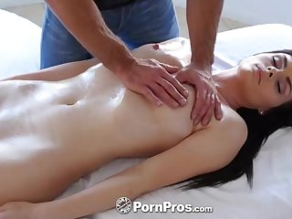 Super Hot brown-haired honey, Hospice Rae is getting an oomph rubdown, while on someone's skin rubdown table