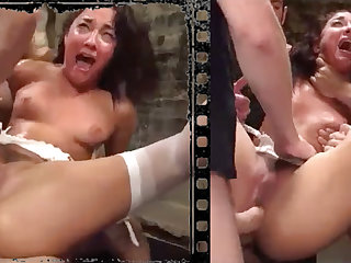 Messy loveliness plowed xxx with five immense penises!