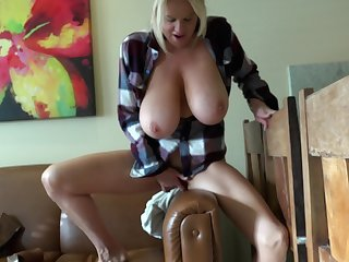 Curvy big tits Madison bend over while fingering her pussy