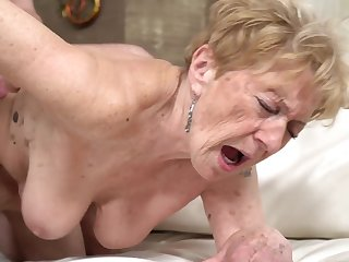 A nasty ancient granny is getting fucked in her pussy doggy style