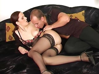 MILF in underthings Carol rides cock in stockings on along to couch
