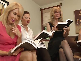 Sapphist orgy in a hotel precinct with Nina Hartley and her mature guests