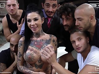 Hardcore pornstar massive orgy party with Megan Inky with the addition of her sluts
