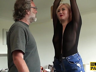 Pernicious british sub slapped and choked