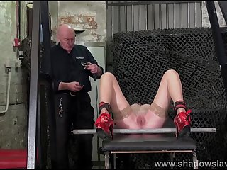 Merciless whipping of struggling amateur slave down rough bdsm