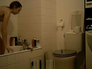 College Teen Brunette Listen in Bathroom Part 2