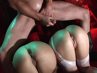 Pioneering toying and insulting femdom with two whores