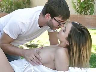 Aside babe with juicy boobies Dillion Harper gets will not hear of pussy fucked on the lawn