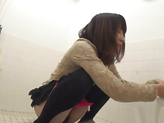 Asian sluts pee in toliet