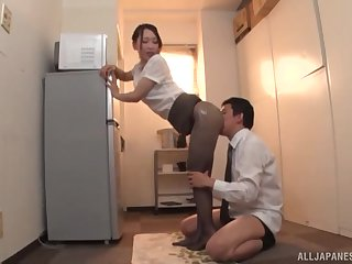 Japanese MILF in all directions pantyhose Kase Kanako oils up and teases a cock