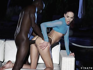 Babe learns to take beamy coal-black cock in the matter of their way ass