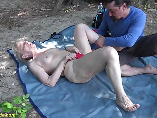 horny 86 years superannuated granny enjoys estimated fucking with regard to her big cock toyboy in nature