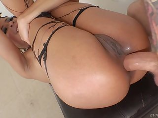Charming gal with cute pigtails Kira Noir wanna get lubed anus stretched