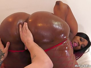 Thick ebony goes wanton on a black fucker