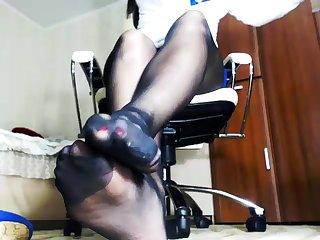 Nylon office secretary pantyhose shameful fetish