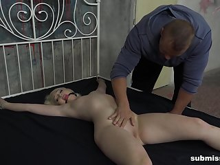 Pale peaches submissive slut Lovita Fate tied to a difficulty bed increased by fucked