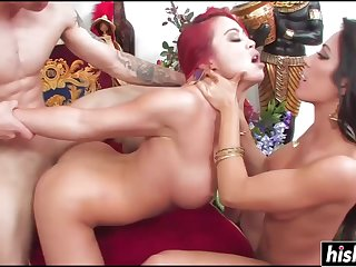 Redhead Plus Her Friend Get Copulated - asian babes threesome sex