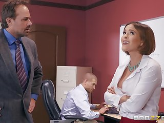 Krissy Lynn wants on touching make the beast with two backs with her horny friend in the office
