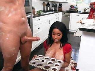 Naked ebony slut with big tits, risible pantry fuck
