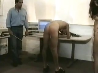 Female office helpers spanked by boss (vintage spanking)