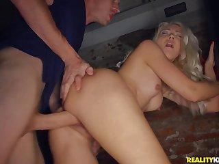 Huge cock pounds a skinny blonde slut in her tight cunt