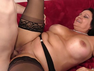 Fat mature puts the caring detect in ever after of her holes