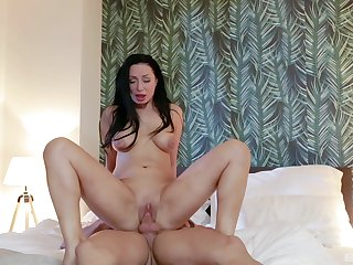 Brunette with big boobs, bedroom hard making love on a fat locate