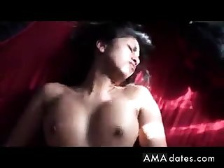 Hot Indian explicit rides then gets it on her back!