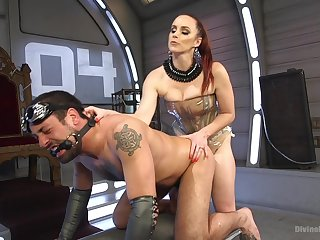 Bella Rossi spanking with the addition of pegging her man slave with a strapon
