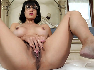 Grown up stepmother masturbating in front of stepson
