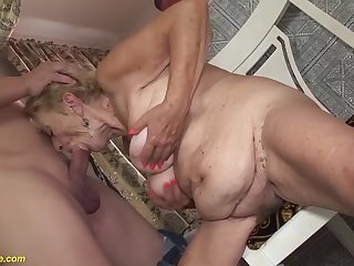 Extreme hairy chubby belly 8 venerable granny loves to fuck near her chubby cock toyboy
