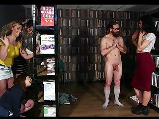 Library Ambush - cfnm group femdom orgy with facial cumshot
