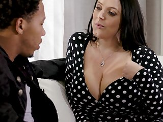Black stepson can't thumb one's nose at fucking shocking big white boobs of Angela White