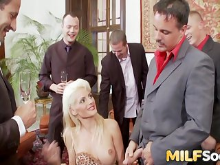 Two Horny MILFs Acquire a DP Gangbang
