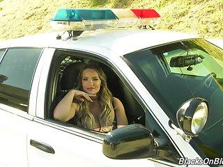 Desk-bound hither cop's car weirdo porn actress Cali Carter holds interview