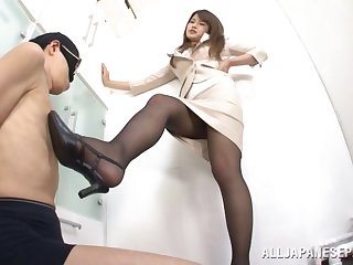 Erotic feetjob and a blowjob by adorable Japanese cutie Sumire
