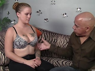 Tattooed hottie licked and fucked apart from a bald toff in a throbbing dick
